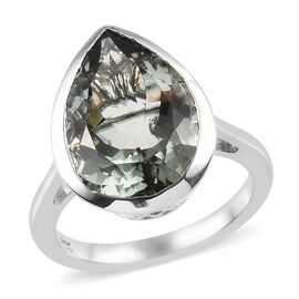 Prasiolite (Pear 16x12 mm) Ring in Platinum Overlay Sterling Silver 7.750 Ct.