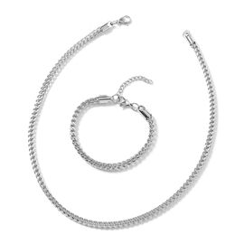 2 Piece Set - Stainless Steel Curb Chain Necklace (Size 20) and Bracelet (Size 7.5 with 1 inch Exten
