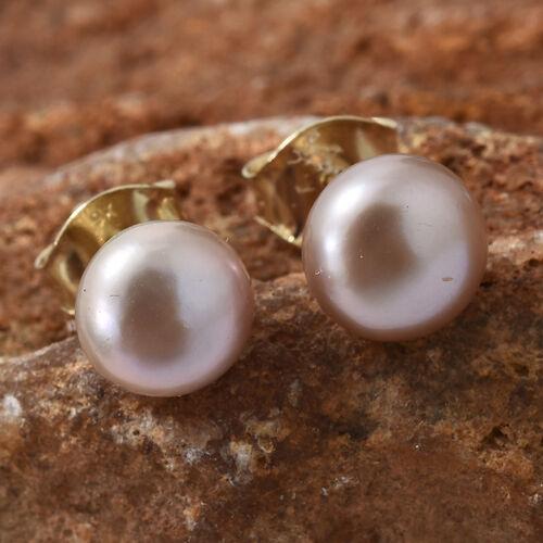 9K Yellow Gold Fresh Water Pink Pearl (Rnd 7mm) Earrings
