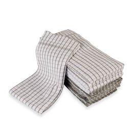 Set of 10 - 100% Cotton Multi-Purpose Kitchen Terry Towel (Size 45x63 Cm) - Grey and White