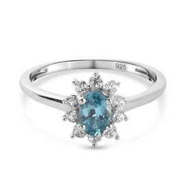 Ratanakiri Blue Zircon and Natural Cambodian Zircon Floral Ring in Platinum Overlay Sterling Silver
