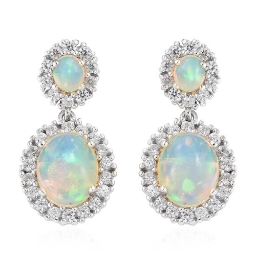 Ethiopian Welo Opal (Ovl), Natural Cambodian Zircon Earrings (with Push Back) in Platinum Overlay Sterling Silver 5.000 Ct. Silver wt 5.37 Gms.