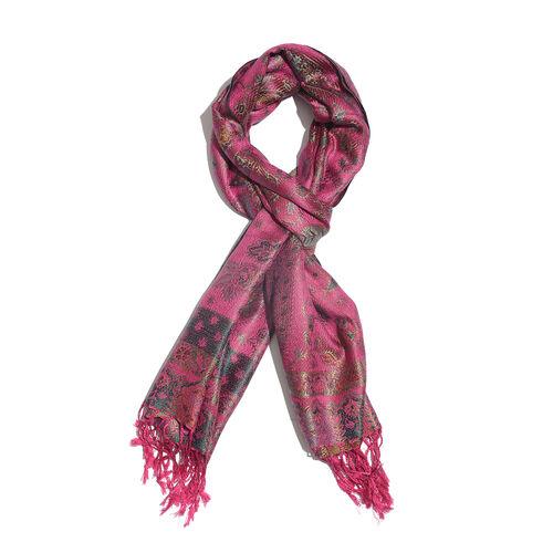 SILK MARK - 100% Superfine Silk Dark Pink, Green and Multi Colour Flower and Paisley Pattern Jacquar