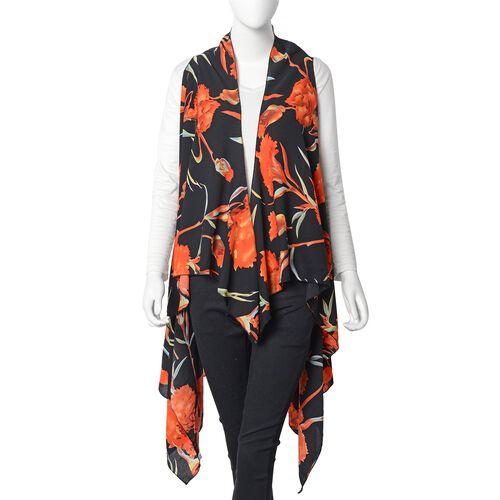 Designer Inspired-Orange and Black Colour Floral Kimono (Size 145x130 Cm)