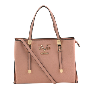 19V69 ITALIA by Alessandro Versace Litchi Pattern Handbag with Detachable Shoulder Strap and Zipper Closure (Size 33x11x22 Cm) - Pink