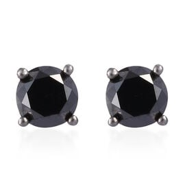 Black Diamond (Rnd) Earrings (with Push Back) in Platinum Overlay Sterling Silver 1.000 Ct.