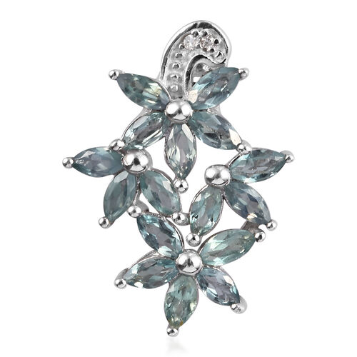 1.25 Ct AA Narsipatnam Alexandrite and Diamond Floral Pendant in Platinum Plated Sterling Silver