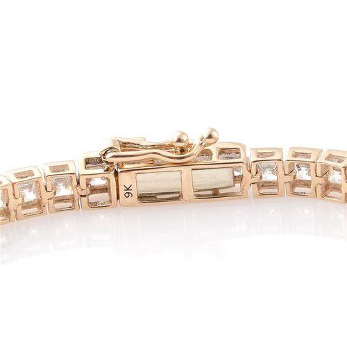 Limited Edition J Francis - 9K Y Gold (Princess Cut) Bracelet (Size 7.5) Made with SWAROVSKI ZIRCONIA. Gold Wt 9.34 Gms