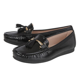 Lotus Crinkle Patent Mia Loafers in Black Colour