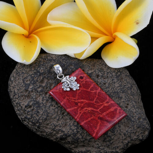 Coral Pendant in Sterling Silver