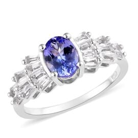 Designer Inspired- Tanzanite (Ovl), Golconda Diamond Topaz Ballerina Ring in Platinum Overlay Sterli