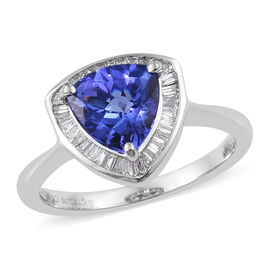 Signature Collection 950 Platinum AAA Tanzanite (Trl 7.5mm) and Diamond (VS/E-F) Ring 1.75 Ct.