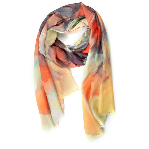 Orange, Grey and Multi Colour Art Round Shape Block Pattern Scarf (Size 170x75 Cm)
