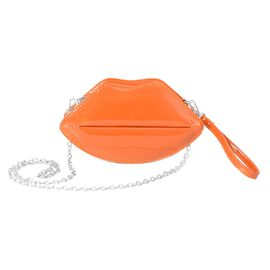 Orange Colour Lips Crossbody Bag with Removable Shoulder Chain Strap (Size 24.5x13x6 Cm)