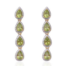 5.98 Ct Hebei Peridot Dangle Earrings in Gold Plated Sterling Silver 5.10 Grams
