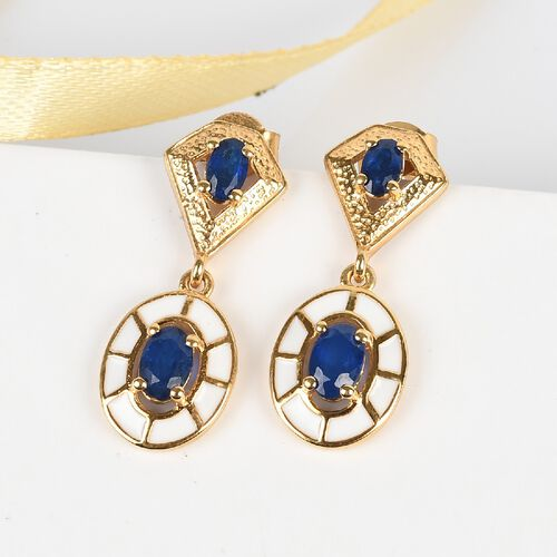 Tanzanian Blue Spinel Enamelled Dangle Earrings (with Push Back) in 14K Gold Overlay Sterling Silver 1.84 Ct.