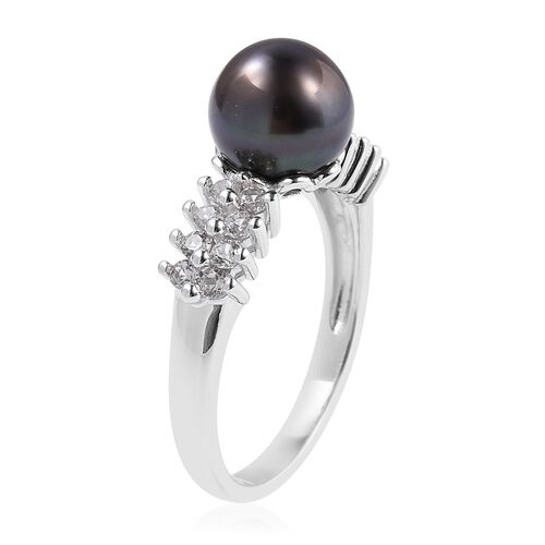 Tahitian Pearl (Rnd), White Topaz Ring in Rhodium Overlay Sterling Silver
