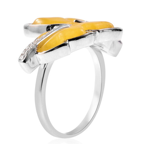 Isabella Liu Leaf Collection - Carved Yellow Jade and Natural Cambodian Zircon Leaf Bypass Ring in Rhodium Overlay Sterling Silver 6.75 Ct.