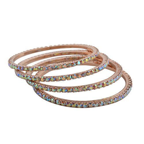 4 Piece Set Simulated Rainbow Sapphire Bangle (Size 7) in Rose Gold Tone