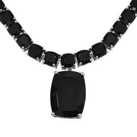 53 Carat Natural Boi Ploi Black Spinel Necklace with Chain in Platinum Plated Silver 18 Inch