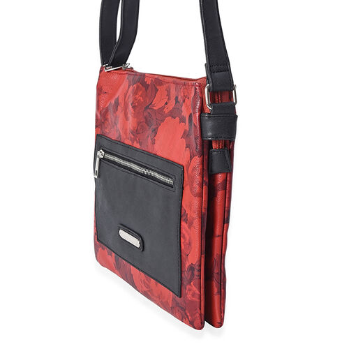 Floral Pattern Crossbody Bag with Adjustable Shoulder Strap and Front-Back Zipper Pocket (Size 27x26x6 Cm) - Red and Black