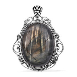 Royal Bali Collection Extremely Rare Size Labradorite (Ovl 40x30 mm) Pendant in Sterling Silver 96.970 Ct,