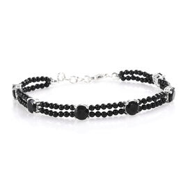 21.25 Ct Boi Ploi Black Spinel Beaded Bracelet in Silver 7.5 Inch