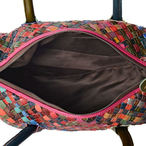 Morocco Collection - 100% Genuine Leather Multi Colour  Hand Woven Tote Bag with Removable Shoulder Strap (Size 32.5x24x13.5 Cm)