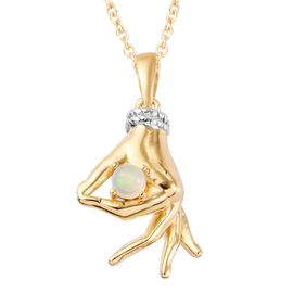Ethiopian Welo Opal Mudra Hand Pendant With Chain (Size 20) in Yellow Gold and Platinum Overlay Ster