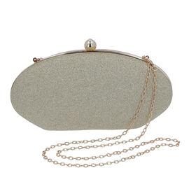 Light Gold Sparkly Clutch Bag with Detachable Shoulder Chain (Size 25x5x12 Cm)