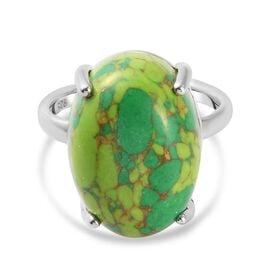 Green Mojave Turquoise Ring in Platinum Overlay Sterling Silver 10.75 Ct.