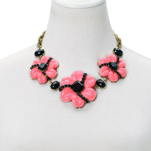Pink and Black Colour Floral Necklace (Size 20 with 2 inch Extender) in Yellow Gold Tone