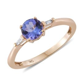 9K Yellow Gold Tanzanite and Diamond (I3/G-H) Ring 0.85 Ct.