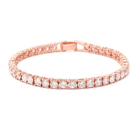 ELANZA Swiss Star Simulated Diamond Tennis Bracelet in Rose Gold plated Silver 11 Grams 7.5 Inch