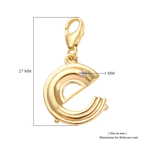 Diamond (Rnd) Initial E Charm in 14K Gold Overlay Sterling Silver