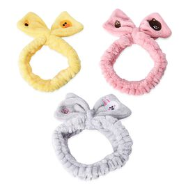 3 Piece Set - Lovely Bowknot Design Headband Stretchable in Duck, Rabbit and Bear Pattern (Dia 14 Cm
