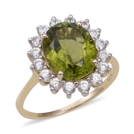 9K Yellow Gold Hebei Peridot (Ovl 12x10 mm), Natural Cambodian White Zircon Ring 7.140 Ct.