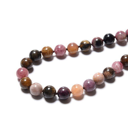 Multi-Tourmaline Beaded Necklace (Size 20) with Magnetic Lock in Rhodium Overlay Sterling Silver 466.50 Ct.