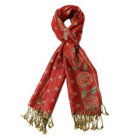 Red and Green Colour Rhombus and Rose Pattern Scarf (Size 66X175+8 Cm)