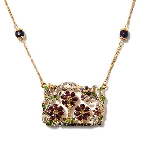 GP Rhodolite Garnet, Amethyst and Multi Gemstone Floral Necklace with Chain (Size 18) in 14K Gold Ov