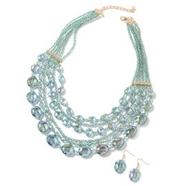 2 Piece Set - Emerald Colour Beads and White Austrian Crystal Multi Row Necklace (Size 24 with 3 inc