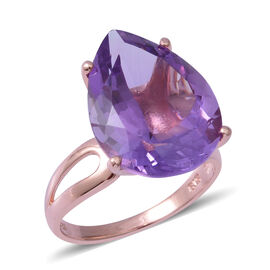 Rose De France Amethyst (Pear 20x15 mm) Ring in Rose Gold Overlay Sterling Silver 14.740 Ct.