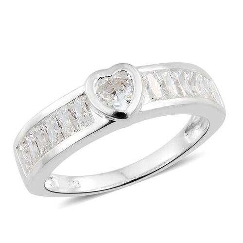 J Francis - Sterling Silver (Hrt and Bgt) Heart Ring Made with SWAROVSKI ZIRCONIA
