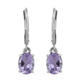 AA Rose De France Amethyst (Ovl) Lever Back Earrings in Platinum Overlay Sterling Silver 2.00 Ct.