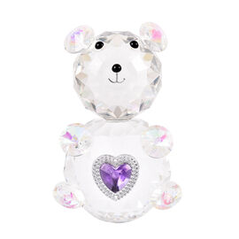 Decorative AB Crystal Glass Bear with Purple Heart (11x7x6.5cm)