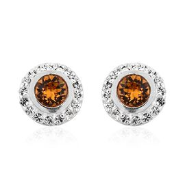 J Francis Crystal from Swarovski - Topaz Colour Crystal (Rnd), White Crystal Stud Earrings (with Push Back) in Sterling Silver