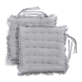 Set of 2 - 100% Cotton Cover and Filled Chair Pads with Fringes (40x40x3cm) - Grey