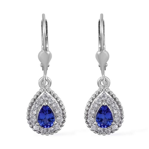 Tanzanite and Natural Cambodian Zircon Lever Back Earrings in  Platinum Overlay Sterling Silver 1.50