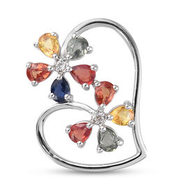 Rainbow Sapphire and Natural Cambodian Zircon Heart Pendant in Platinum Overlay Sterling Silver 1.82