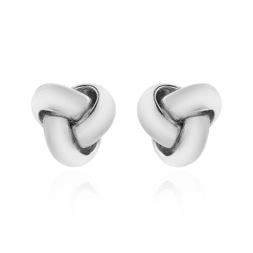 ILIANA 18K White Gold Knot Stud Earrings.